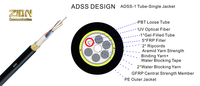 6|8|12 Cores G.652.D Fibers All-dielectric self-supporting (ADSS) cable optical fiber cable single Jacket PE sheath